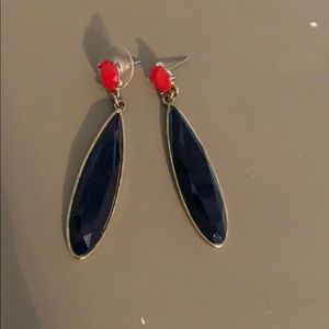 Navy and red earrings